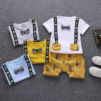 2Pcs Toddler Baby Kids Boys Letter Print Smile Tops+Pants Outfits Clothes Suit