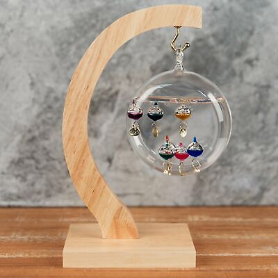 Galileo Thermometer Suspended on Curved Wooden Stand 27cm Weather Instrument