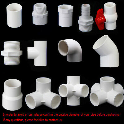 Various White PVC Water Supply Pipe Fittings Socket, Elbow, Tee, Ball Valve...