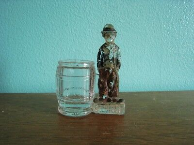 1915-1920 Charlie Chaplin Figural Glass Candy Container Still Bank Borfgeldt