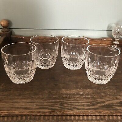 Colleen Waterford Signed Old Fashioned Glasses Set Of 4 Cut Crystal Immaculate
