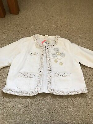 Next Baby Girls White Summer Linen Lined Jacket Age 6-9 Months
