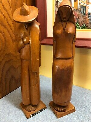 """Hand Carved Peasant Man & Woman lightweight Wood Figurines 10"""" Mexico"""