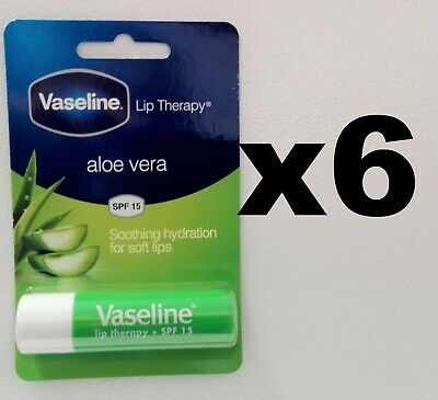 6 x Vaseline Stick Aloe Vera Lips Therapy 4g SPF 15 **UK STOCK** free delivery
