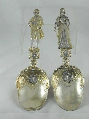 Rare Victorian silver gilded marriage spoons dated 1898 unusual wedding gift