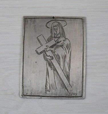 Antique Collectible Handmade Solid Silver Icon Engraved Christ 1899 A.T. Rare