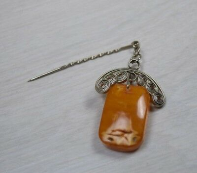 Antique Sterling Silver 925 Genuine Baltic Amber Women's Brooch Pin Badge Boxed