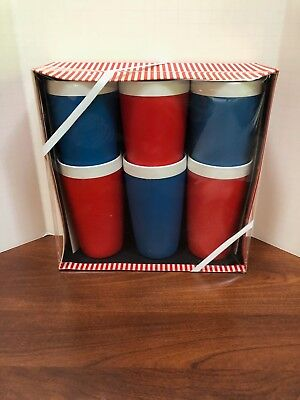 Vintage ACCA Ware Set of 6 Insulated Glasses By David Douglas MCM Retro NOS!