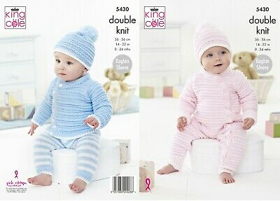 KINGCOLE 5430 - Baby DK Knitting Pattern -sizes 14-22in- Not the finished items