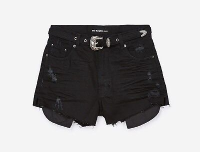 5721bdc27d THE KOOPLES Distressed High-Rise Denim Shorts - Black Medium Brand New With  Tags
