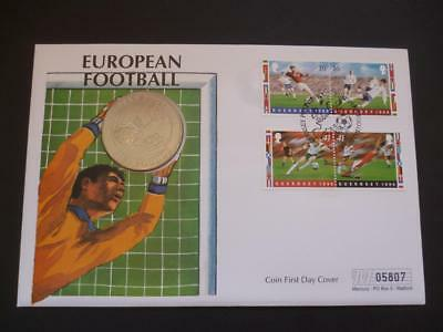 Guernsey 1996 coin cover pnc featuring the European Football includes £5 coin.