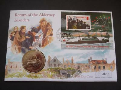 Alderney 1995 coin cover pnc featuring the return of the Islanders, £2 coin.