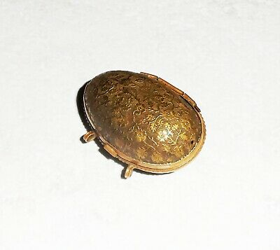 ANTIQUE LATE 1800s EARLY 1900s BRONZE DOLL BAG EGG SHAPE (tiny sewing kit?) RARE