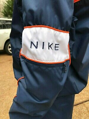 NWOT Womens S 4-6 NIKE Track Suit Windsuit Orange Blue Wind Breaker Pants Vtg