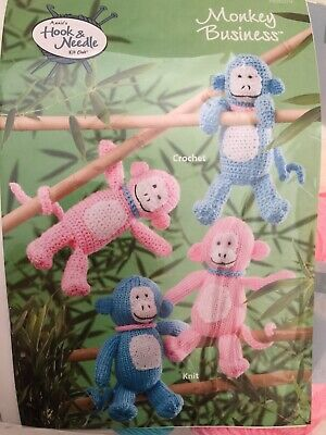 Annie's Hook & Needle Kit Monkey Business Knit or Crochet NEW Retired