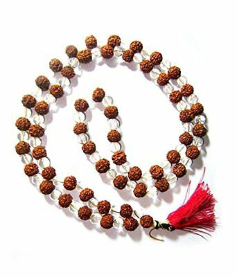 Rudraksha Clears Crystal Sphatik Japa Mala Rosary 108 +1 Beads For Hindu Pray UK