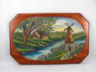 Antique/vintage Folk Art Wood Carved & Painted Wall Plaque W/ Windmill & House