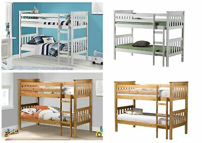 Birlea Portland Solid Pine Bunk Bed with Ladder, Splits into 2 Beds - Pine, Whit