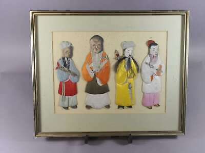 Early 20Th Century Large Antique Four Chinese Silk Figures With Frame
