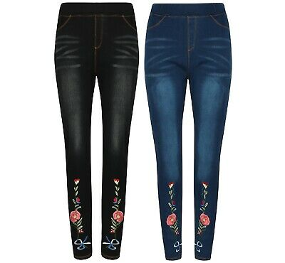 Ladies Jeggings Stretch Jeans Denim Floral Skinny Fit Cotton Ex Store New Black