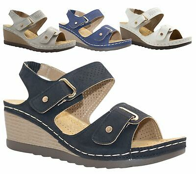 Womens Wedge Heel Sandal Ladies Comfort Cushion Casual Strapy Summer Beach Size