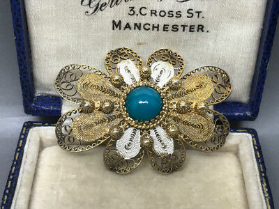 Lovely Sterling Silver Gilt Filigree Enamel and Stone Brooch Stamped 800