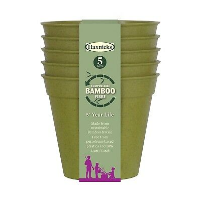 Haxnicks Bamboo Plant Pots Biodegradable Compostable