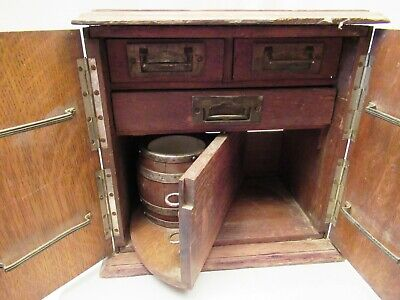 Antique Silver Plate & Wooden Tea Caddy With Wooden Porcelain Interior Collectib