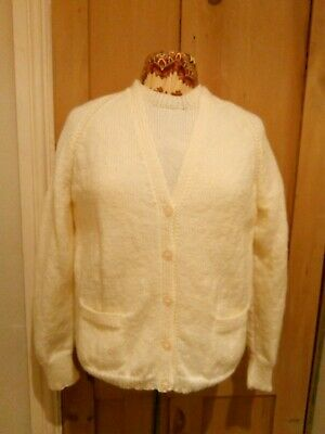 Vintage 1950s 60s Cream Twin-Set Wool Hand Knitted Jumper Top and Cardigan NWOT