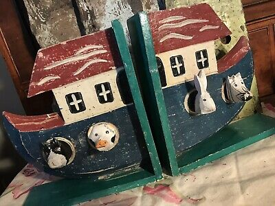 Vintage Naive Folk Art Wooden Painted Bookends