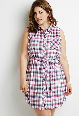 FOREVER 21 PLUS Size Belted Plaid Shirt Dress 1X