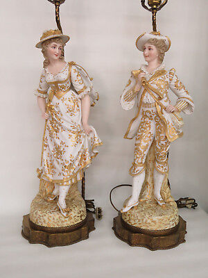 French Bisque Early 1900s Man and Lady Pair of Figural Lamps 263B