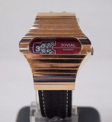 Space Age Jovial Automatic Digital Jump Hour Rose Gold Plated Watch Wristwatch