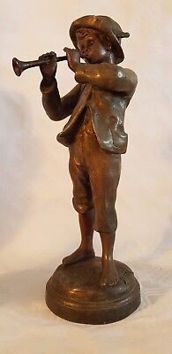 FRENCH SPELTER FIGURE - BOY PLAYING PIPE - signed Kessler