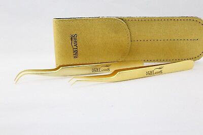 Eyelash-Extension-Straight-or-Curved-or-Volume-Stainless-Steel-Gold-Tweezers