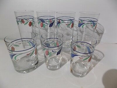 7 Lenox Chinastone Poppies On Blue Hand Painted Drinking Glasses