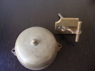 Large Complete Antique Mechanical 1872 Cast Brass Bell W/ Escutcheon Pull Lever