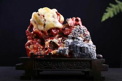 16'' chinese Shoushan stone home fengshui carved landscape people scenery statue