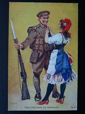 Patriotic WW1 TAKE THIS TO TIPPERARY by Artist lawson Wood c1915 Postcard No.6