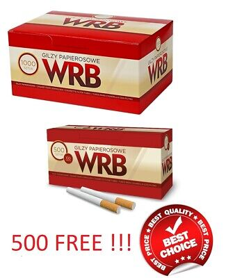 1000 + 500 Free!!! Empty Cigarette Filter Tubes Wrb Make Your Own