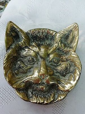 Antique Solid Brass Cat Face Coin Pin Dish Circa 1920's