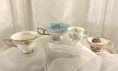 LEFTON And Eschenbach Mismatched China Teacups Lot Of 4 Vintage Tea Party Cups