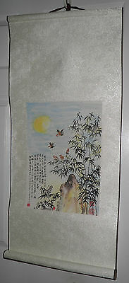Vintage 3' ft. ORIGINAL Asian SCROLL PAINTING Chinese Japanese Wall Art $10 OFF