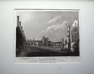 WINCHESTER,HOSPITAL OF ST CROSS  Hearne Mounted Antique Print 1780