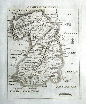 CAMBRIDGESHIRE,John Roque, England Displayed, Antique County Map 1769