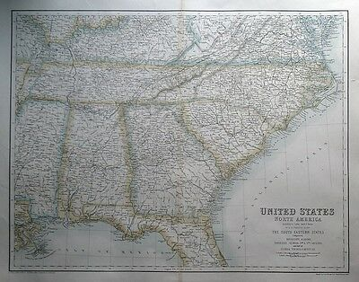 UNITED STATES OF NORTH AMERICA, S.E. STATES Fullarton original antique map c1865