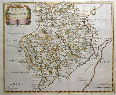 MONMOUTHSHIRE, Robert Morden, original antique hand coloured map 1722
