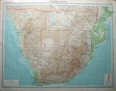 SOUTH AFRICA,CAPE PROVINCE, NATAL, ORANGE FREE STATE original antique map c1900
