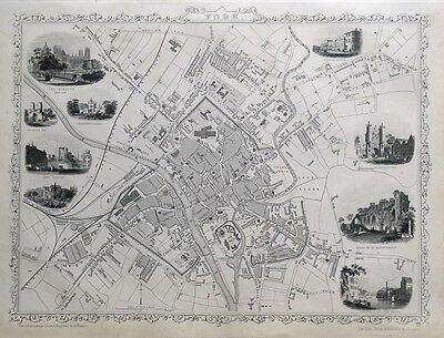 YORK, UK, STREET PLAN, RAPKIN & TALLIS original illustrated antique map c1850