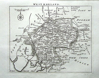 WESTMORLAND,John Roque, England Displayed, Antique County Map 1769